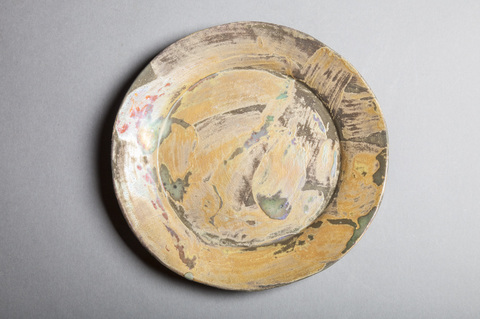 Raku, Pit Fire and Luster ware Small gold swirl plate 2
