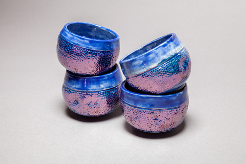 Raku, Pit Fire and Luster ware Blue luster chawan tea bowls