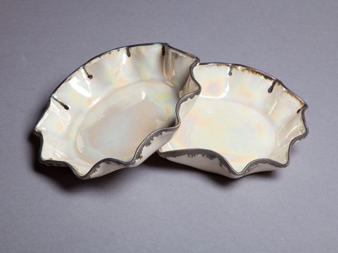 Raku, Pit Fire and Luster ware Opal luster scalloped plates with antique gold rims