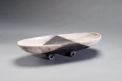 Raku, Pit Fire and Luster ware Black and White Skate Bowl
