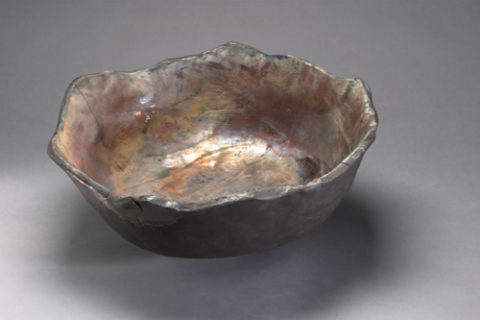 Raku, Pit Fire and Luster ware Peacock Bowl
