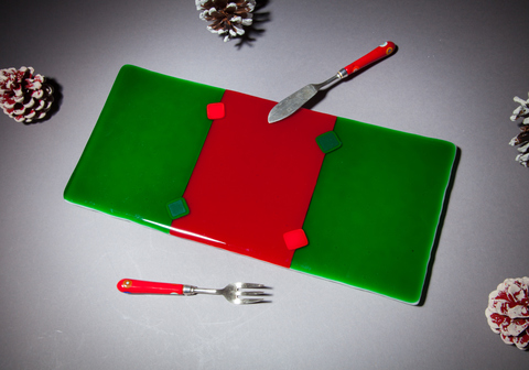Glass Ware Red and green striped cheese/snack/dessert tray