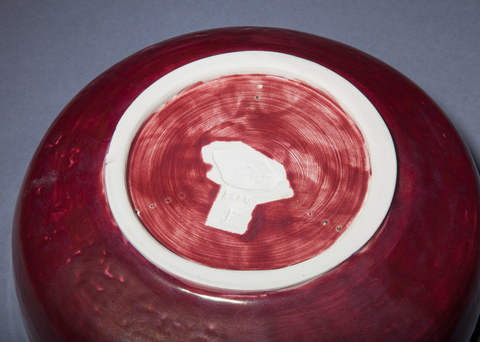 Raku, Pit Fire and Luster ware  Large plum red and gold bowl, bottom