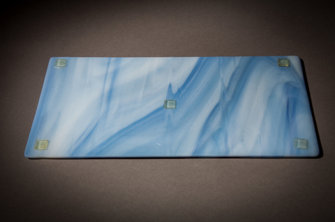 Glass Ware Blue swirl fused glass serving tray for desserts, snacks, cheese