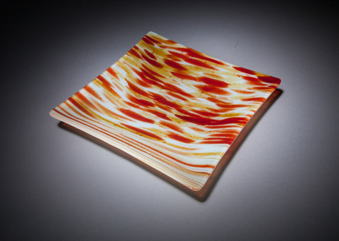 Glass Ware Sedona amber square fused glass tray