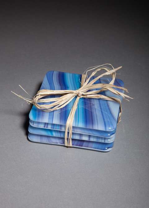 Glass Ware Blue swirl coaster set