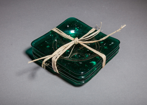 Glass Ware Green sparkle coaster set
