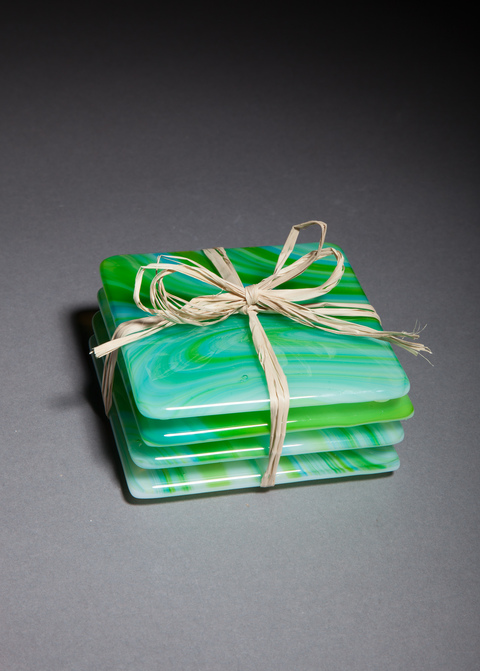Glass Ware Green swirl coaster set