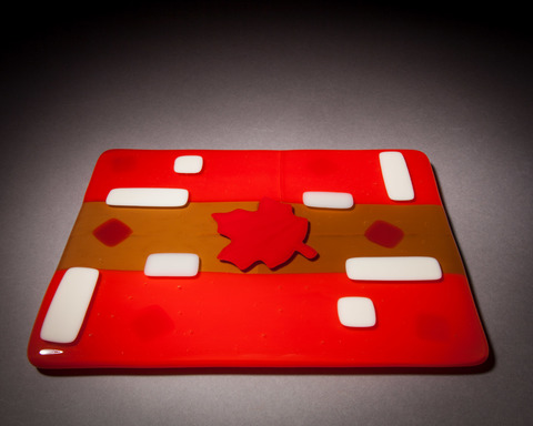 Glass Ware Red Maple leaf, brown, white and red fused glass cheese, dessert and snack tray