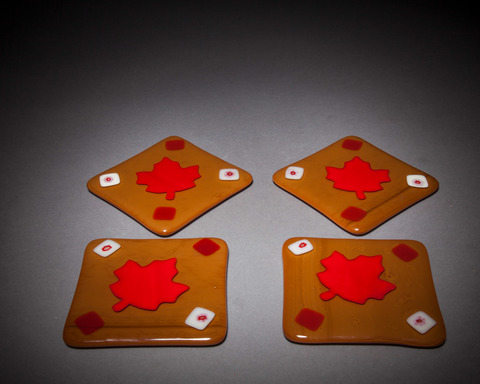 Glass Ware Red maple leaf, brown and white square fused glass coaster set