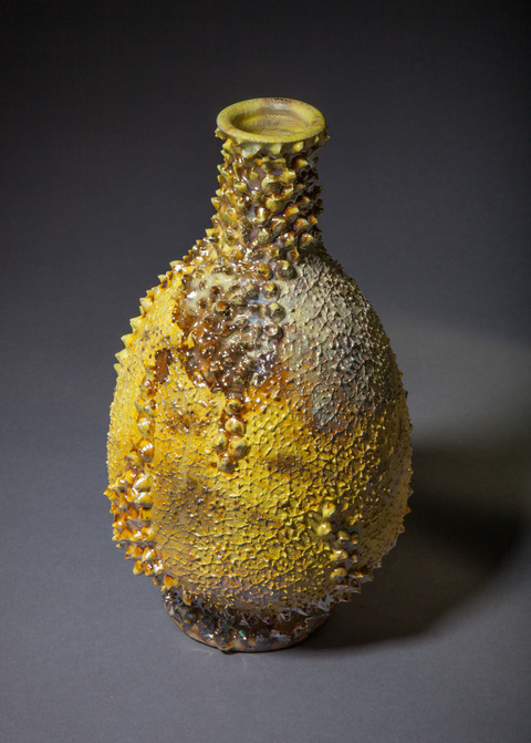 Bottles, Vases, Vessels and Lidded Jars Yellow and gold luster reef vase
