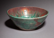 Copper green and red luster bowl, large and wide