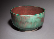 Copper green and red luster bowl, large