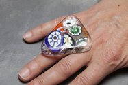 Murano glass triangle ring