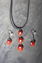 Dangling dots pendant and earrings