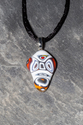 Multi colored fused glass mask pendant necklace
