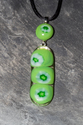 Pea in a pod fused glass pendant necklace