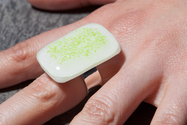 Ivory and Green sparkle fused glass ring