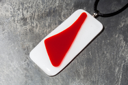 Red and Ivory large fused glass pendant necklace