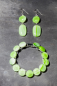 Green swirl earrings and Bracelet