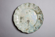Luster blue scalloped plate #11