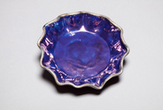 Scalloped antique blue luster plate