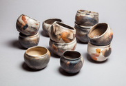 Lisa G Westheimer Ceramics & Glass    LisaGWCeramicsnGlass.Etsy.com Chawan, cups and bowls Saggar smoke fired burnished stoneware