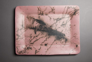 Pink horsehair and feather platter