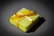 Yellow fused glass coaster set