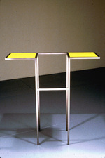 Livio Saganić Tables Steel and stained glass