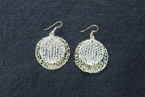 Earrings silver-plated silver and gold wire