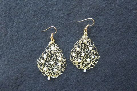 Earrings silver-plated gold wire, white freshwater pearls