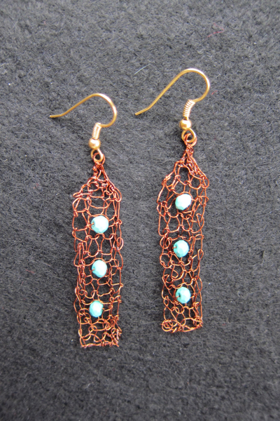 Earrings Rectangle Drops, brown and turquoise