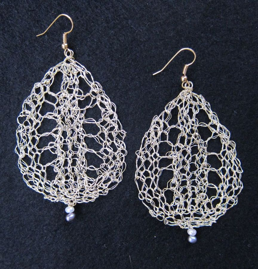 Earrings Lace Leaves, large