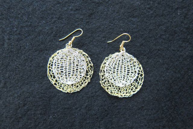 Earrings Double Circles, silver and gold
