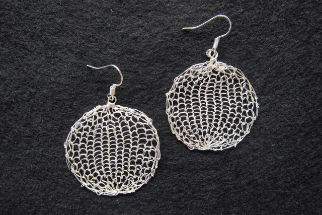 Earrings Large Circles, silver