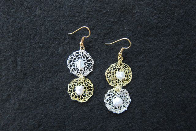 Earrings Two Circles, silver and gold with pearls