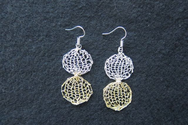 Earrings Two Circles, silver and gold