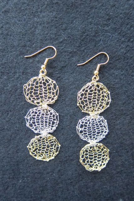 Earrings Three Circles, gold and silver