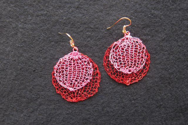 Earrings Double Circles, red and pink