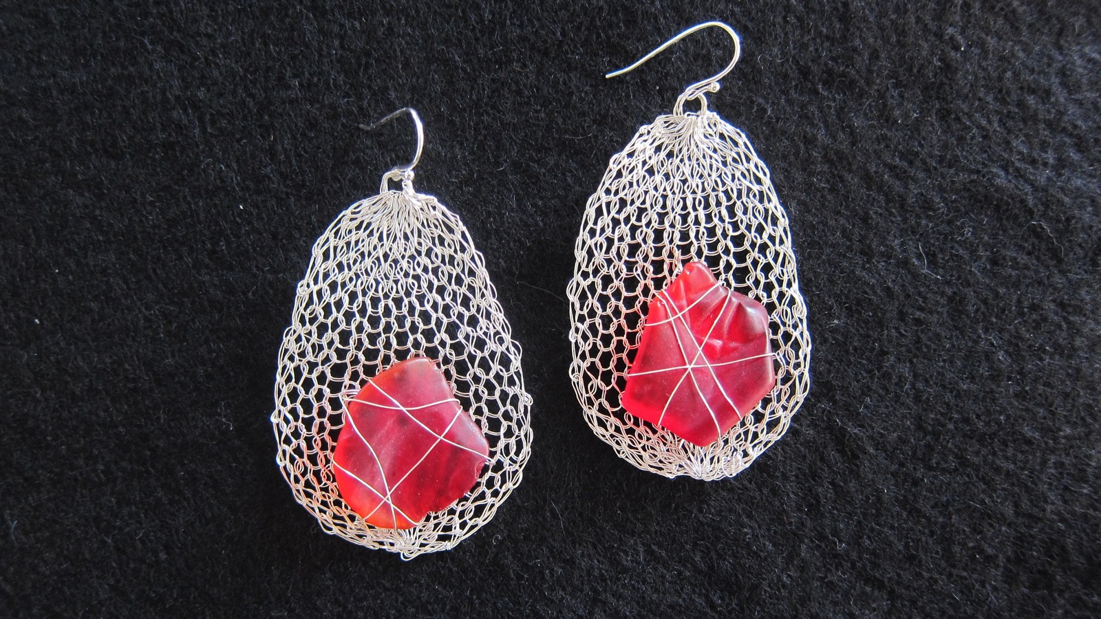 Earrings Seaglass Ovals, red seaglass