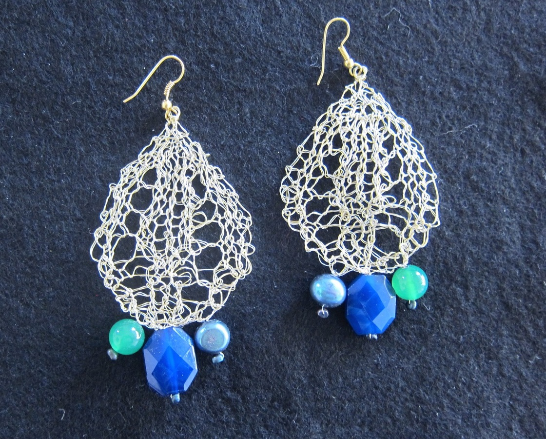 Earrings Large Lace Leaves, pearls and beads