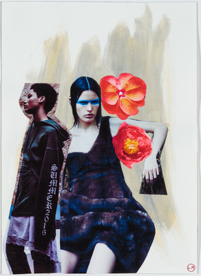 LIZ MARKUS 2016 FASHION COLLAGES  collage and paint on paper