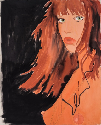 LIZ MARKUS GIRLFRIENDS OF THE ROLLING STONES acrylic and pencil on unprimed canvas