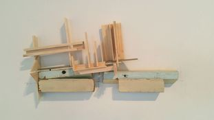 Exhibit | Precarious Constructs 2016 Found wood, paint, balsa