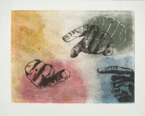 Lola Fraknoi Pointing Fingers Collograph/Etching