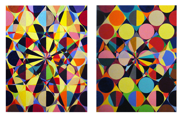 Lorien Suárez-Kanerva Wheel within a Wheel Artwork Acrylic on Ampersand Gesso Board Panels