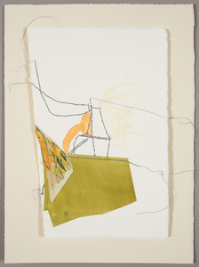 Lori Glavin MIXED MEDIA ON PAPER found papers, gouache and thread on paper