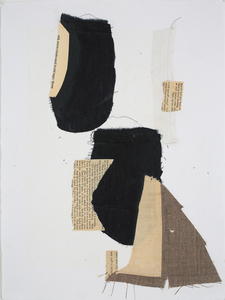 Lori Glavin MIXED MEDIA ON PAPER fabric, found papers, thread on paper