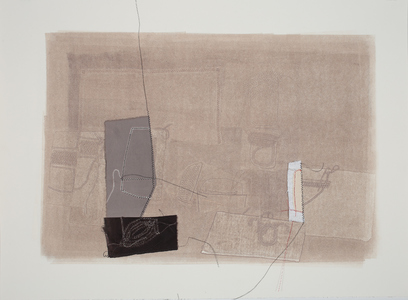 Lori Glavin MIXED MEDIA ON PAPER monotype, fabric, thread